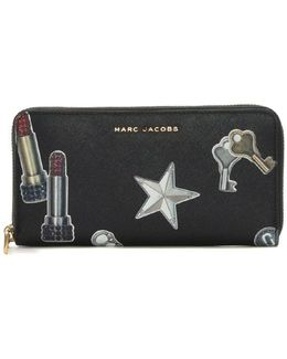 Black Leather Charms Zip Around Wallet