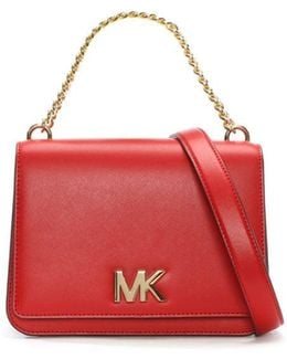 Mott Bright Red Leather Chain Shoulder Cross-Body Bag