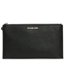 Wristlet Black Tumbled Leather Clutch Bag
