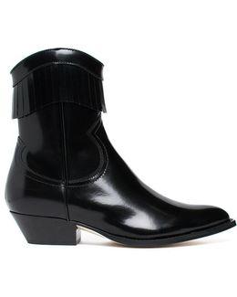 Brushed Leather Fringe Boots