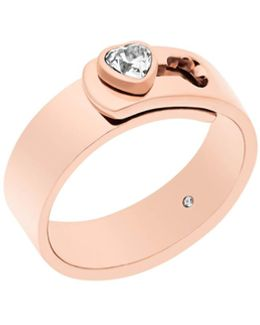 Brilliance Rose Gold Steel And Cubic Zirconia Ring