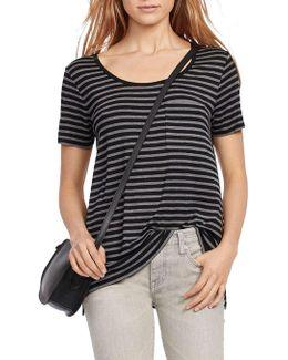 Scoopneck Short Sleeve Stripe Lux Jersey Knit