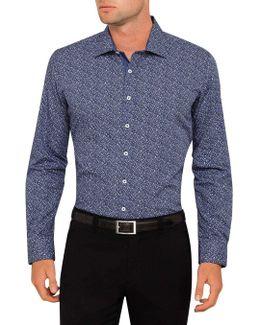 Micro Violet Print Body Fit Shirt