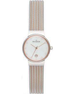 Classic Two Tone Striped Mesh Women's Watch