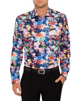 Watercolour Floral Print Slim Fit Shirt