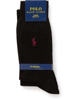 2 Pack Mercerized Flat Knit Solid Socks