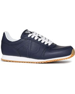 Perforated Action Leather Logo Runner