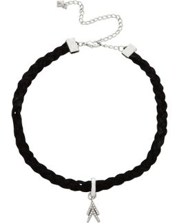 Pave Chevron Charm On Braided Leather Choker