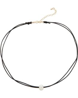 Black Leather Choker With Pearl Adjustable