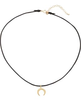 Black Leather Choker With Gold Cresent Moon Adjustable