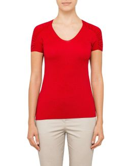 T-shirt With Gathered Sleeve Detail