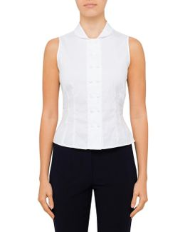 Sleeveless Shirt With Double Button