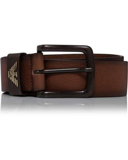 Smooth Leather Jean Belt With Logo Keeper