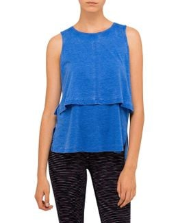 Distressed Double Layer Tank W Side Slits