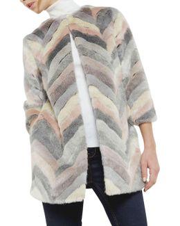 Reniaa Chevron Faux Fur Coat