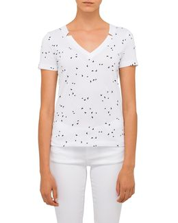 Aj Allover Butterfly V Neck Tee