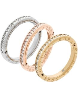 Haute Hardware Tri-tone Logo Stacked Ring Set