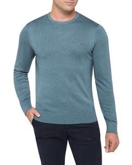 Plaited Cotton Silk Crew Neck Knit