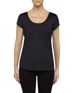 Mesh Open Strappy Back Short Sleeve Tee