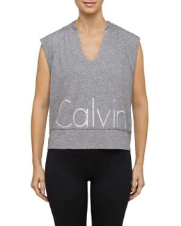 Hooded Muscle Reflective Logo Pullover Top