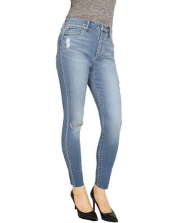 Lisa High Rise Skinny Ankle With Raw Edge