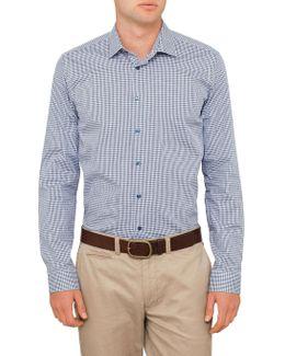 Jaquard Gingham Check Slim Fit Shirt