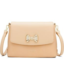 Tessi Curved Bow Leather Across Body Bag