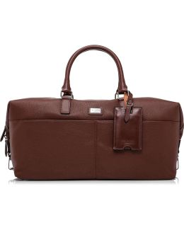 Leather Holdall W/ Logo Plate