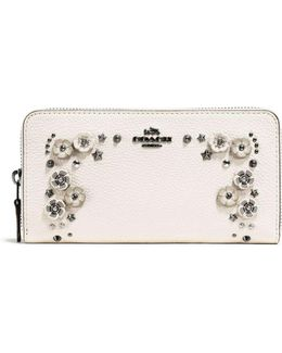 Accordion Zip Wallet In Pebble Leather With Willow Floral