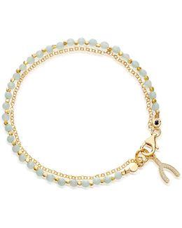Small Amazonite Wishbone Biography Bracelet