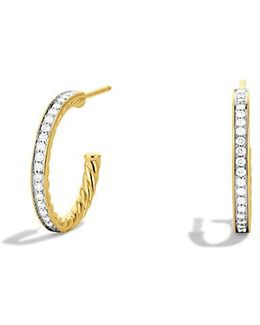 Sculpted Cable Medium Hoop Earrings With Diamonds In 18k Gold