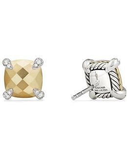 Chatelaine Stud Earrings With 18k Gold And Diamonds, 9mm