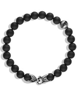 Spiritual Beads Bracelet With Black Onyx And Black Diamonds, 8mm
