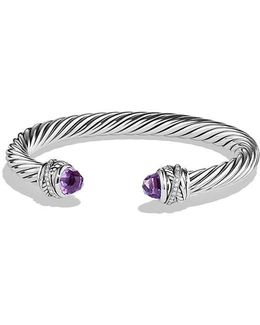 Cable Classic Crossover Bracelet With Amethyst And Diamonds, 7mm