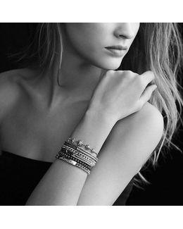 Petite Pavé Curb Link Bracelet With Gray Diamonds, 6mm