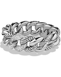 Belmont Curb Link Bracelet With Diamonds, 18mm