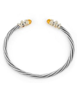 Helena End Station Bracelet With Citrine, Diamonds And 18k Gold, 4mm