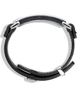 Pavé Id Bracelet With Black Diamonds In Black Leather