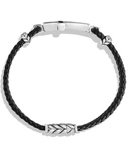 Exotic Stone Cross Station Leather Bracelet With Black Onyx