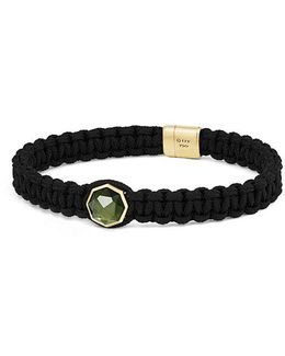 Dy Fortune Woven Station Bracelet With Moldavite And 18k Gold, 11mm