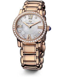 Classic 30mm 18k Rose Gold Quartz Watch With Diamond Bezel