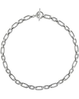 Cushion Link Necklace With Diamonds, 9.5mm
