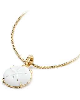 Sand Dollar Amulet In White Agate With 18k Gold