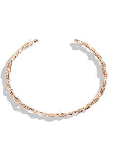 Venetian Quatrefoil Single-row Cuff Bracelet With Diamonds In 18k Rose Gold, 9mm