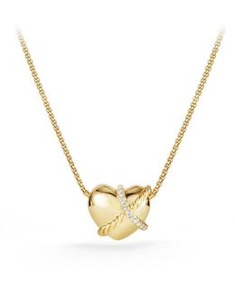 Le Petit Coeur Sculpted Heart Pendant Necklace With Diamonds In 18k Gold