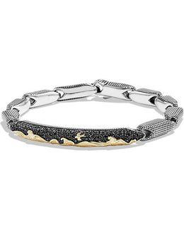Pave Id Bracelet With 18k Gold And Black Diamonds
