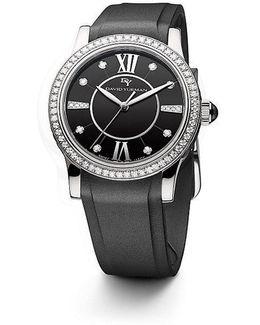 Classic 34mm Rubber Swiss Quartz Watch With Diamonds