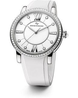 Classic 38mm Rubber Swiss Quartz Watch With Diamonds