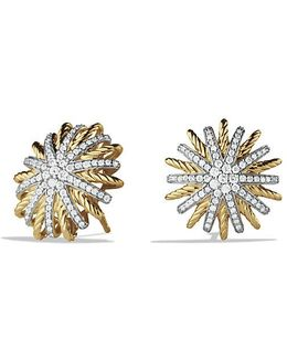 Starburst Earrings With Diamonds In 18k Gold, 18mm