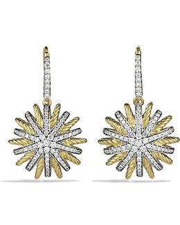 Starburst Drop Earrings With Diamonds In 18k Gold